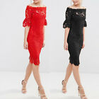New Fashion Women Lace Off Shoulder Bridesmaids Prom Gown Wedding Formal Dress