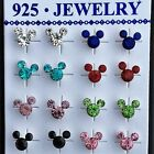 925 Sterling Silver BIRTHSTONE Birthday Stud Earrings w/ Disney's MICKEY MOUSE