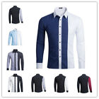 New Men Casual  Shirt Clothes Contrast Color Long Sleeve Dress Sport S-2XL