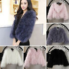 4 Colors Fashion Women's Real Farm Ostrich Fur Coat Short Outwear Jacket