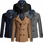 Fashion Men's Slim Fit Long Double Breasted Peacoat Coat Jackets 4 Colors