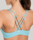 Women's Light Support Cross Back Wirefree Removable Cups Yoga Sports Bra
