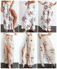 NEW Women Chiffon Flowers Pattern Long Skirts Evening Party Cocktail S~XXL