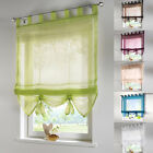 Modern Liftable Roman Blinds Tap Top Sheer Kitchen Bathroom Window Curtain Voile