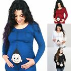 Pregnant Women Cute Stretchy Clothes Loose Casual Maternity Blouse T-Shirt Tops