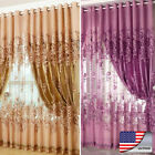 1pcs Voile Window Curtain Floral Blackout Tulle Curtain Living Room Drape Panel