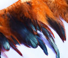 "Yrb12 - Orange Black (4""-8"" Wide) Rooster Feather Fringe Trim Facinator Material"