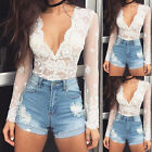 Fashion Women's Lace Tops Long Sleeve Floral Shirt Casual Blouse Loose T-shirt C