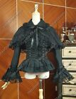 Black Women Victorian Gothic Lolita Blouse Shirt Cape Steampunk Punk Outfit B019