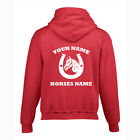 HORSE SHOE, HOODIE PERSONALISED, CHILD, EQUESTRIAN, CHRISTMAS / BIRTHDAY GIFT