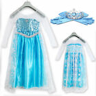 Frozen Disney Elsa Party Cosplay Dress blue  holiday party fancy  Gloves Crown