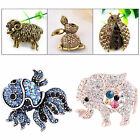 5 Style Unisex Animals Rhinestone Crystal Brooch Pin Jewelry Party Gift