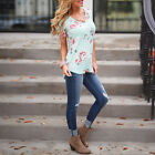 Women's Casual Short Sleeve Floral Shirt Summer Blouse Shirt Tops Plus Size NEW