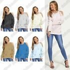 New Ladies Cut Out Shoulder Distressed Ripped Oversized Sweatshirt Fleece Jumper