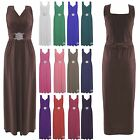 Ladies Sleeveless Evening Buckle Tie Back Fashion Long Maxi Party Dress Size8-26