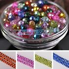 50pcs 8X6mm Lacquer Plated Faceted Rondelle Crystal Glass Loose Spacer Beads