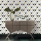 Gold Gray Black and White Chic Geometric Triangle Peel and Stick Wallpaper DIY