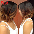 Short Synthetic Hair Lace Front Wig Real Natural U Part Ombre Two Tone Full Wigs