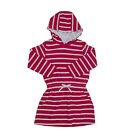 Girls Red White Hooded Beach Towel Swim Dress Cover Up  Size 1 - 9 Years