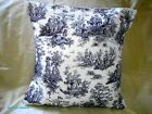 PILLOW COVER - WAVERLY  BLUE AND OFF WHITE  RUSTIC LIFE TOILE 16x16 HANDMADE