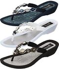Grandco Diamond Pearl Wedge Thong Sandals