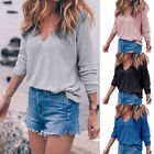 Women Summer Long Sleeve V-neck Shirt Casual Blouse Loose Cotton Tops T Shirt