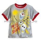 Disney Store Frozen Olaf Snowman Boys Ringer Tee T-Shirt Top Grey Out of Shape
