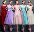 5 Color Gorgeous Chiffon Long Dress Wedding Dress Bow Elegant U-shape Collar