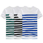 New Summer Short sleeve T-Shirt teens Leisure stripe Splice O-neck Men Tops