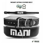 """Weight Lifting Belt Leather 4"""" Wide Back Support Training Gym Fitness Free Glove"""