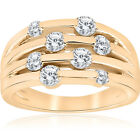 1ct Yellow Gold Real Diamond 14K Right Hand Womens Fashion Multi Rose Ring