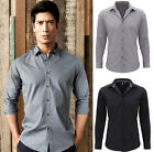 Premier Mens Long Sleeve Poly Cotton Fitted Shirt Soft Collar Contrast Neckband