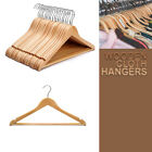 WOODEN CLOTHES HANGERS COAT WARDROBE WOOD HANGER TROUSER BAR SET SUIT GARMENT