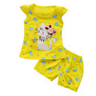 2Pcs Summer Baby Girls Kids Clothes Cartoon Kitten Printed Clothing Outfits Sets