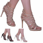 LADIES WOMENS HIGH STILETTO HEEL CUT OUT PEEP TOE SEXY CAGED SANDALS SHOES SIZE