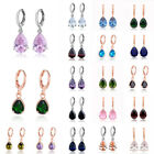 Woman Fashion Cubic Zirconia Silver/Gold Plated Drop Hoop Dangler Earrings