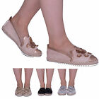Ladies Womens Slip On Flower Pearl Detail Summer Casual Party Espadrille shoes