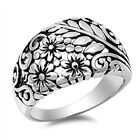 925 Sterling Silver PLUMERIA FLOWER WITH FLORALS DESIGN BAND RING 13MM