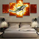5 Panels Miami Dolphins Painting HD Printed Canvas Wall Art Picture Home Décor