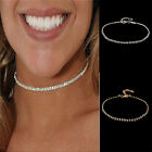 Womens Charm Choker Necklace Crystal Pendant Tennis Chain Chunky Jewelry Fashion
