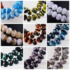 10pcs 12mm Stripe Design Glass Charms Rondelle Faceted Lampwork Loose Beads