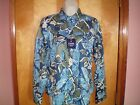 NWT NEW womens blue green khaki floral CHAPS no iron fitted shirt blouse top