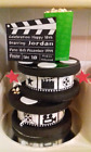 Clapperboard Personalised Edible Icing Cake Topper and Film Reel Ribbon