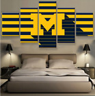 5 Panels Michigan Wolverines Painting HD Printed on Canvas Wall Art Home Décor