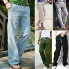 New Men's Casual Loose Drawstring Waist Solid Linen Trousers Beach Pants Fashion