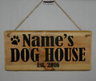 Sign Plaque Personalised DOG HOUSE Est. 2017 Paw Puppy Kennel Bedroom Outdoor