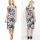 Lands' End  Velvet Sheath Dress Retro Navy Floral Print on Ivory New  $139