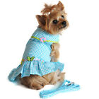 Dog Harness Dress Cute Gingham Pattern with Matching Leash!