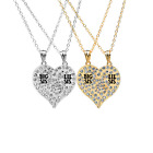 New Gold Sliver Love Heart Shaped Couple Part Pendant Crystal Necklace Sisters