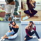 Womens Off Shoulder Shirt Crop Tops Long Sleeve Blouse Jumper Vest Cami Tank Top